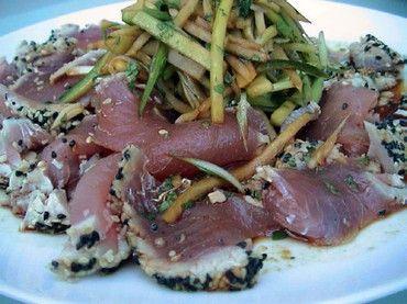 Pan-seared, sesame-crusted tuna. My husband's favorite recipe to make ...
