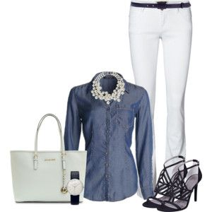 Denim and pearls | My Styled Outfits | Pinterest