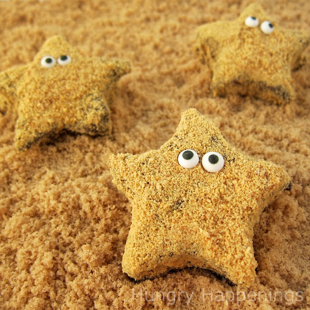 Starfish S'mores!  Great idea for a beach or luau party.