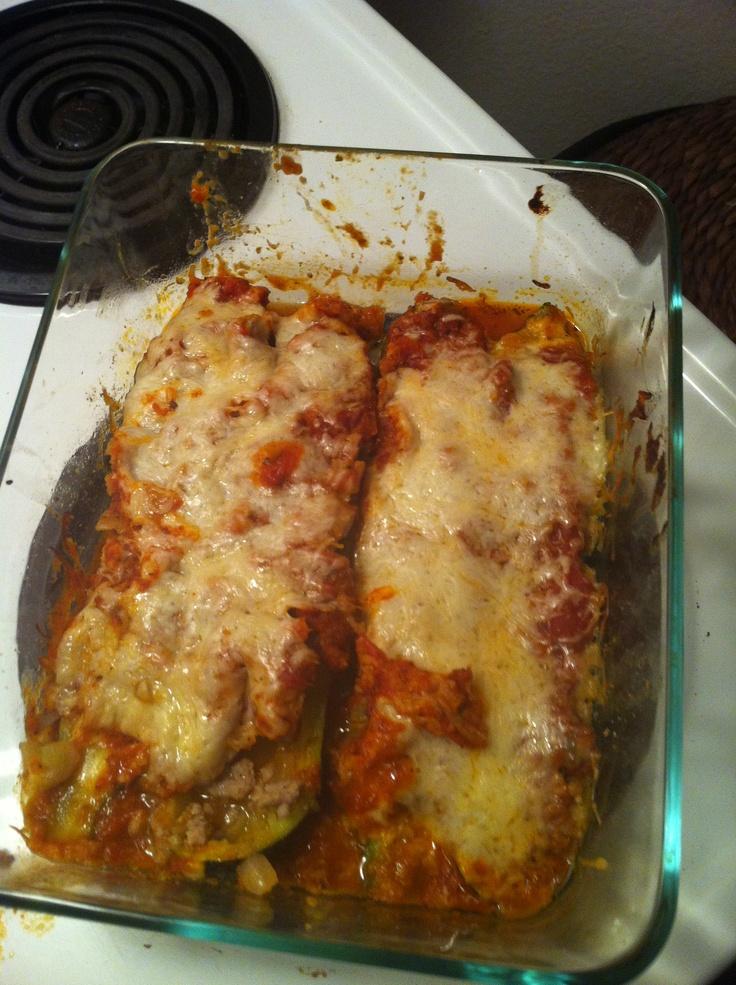 Italian style ground turkey Stuffed Zucchini