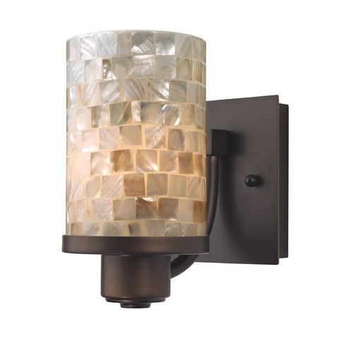 Mosaic Glass Wall Sconces : Bronze Wall Sconce with Mosaic Glass