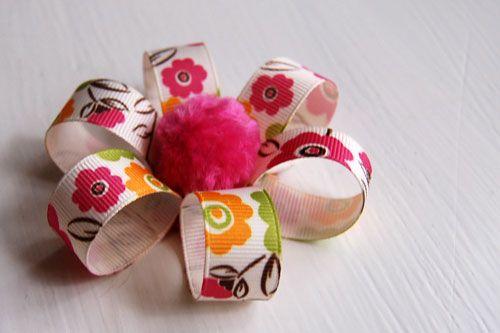cute ribbon flower tutorial - easy! see: http://craftsnob.com/2011/02/polly-make-fabric-flowers/