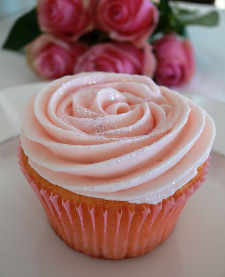 Vanilla Cupcakes with Rose-Water Buttercream