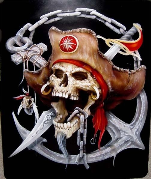 Evil pirate skull tattoo - photo#3