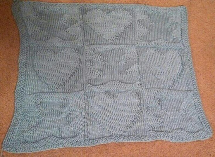 Knitting Patterns For Shawls And Wraps : Hearts and teddy bear knit baby blanket Baby blankets Pinterest