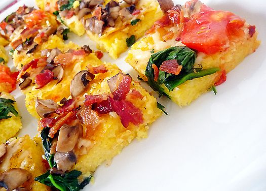 Polenta Pizza with Spinach, Mushrooms, Bacon & Tomatoes | Recipe