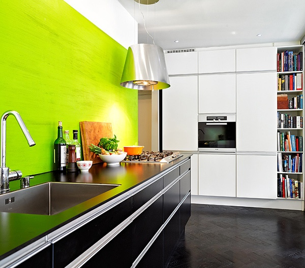 Lime green wall with black cabinets  Kitchen  Pinterest