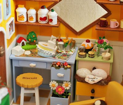 Interior of a miniature doll house.