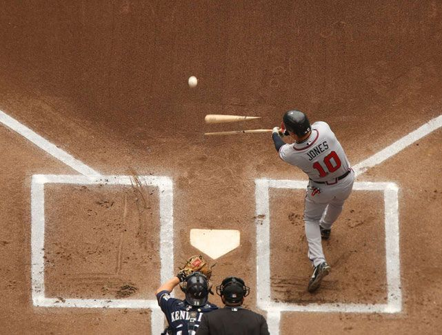 Chipper Jones breaks his bat during a 2008 game against Milwaukee.