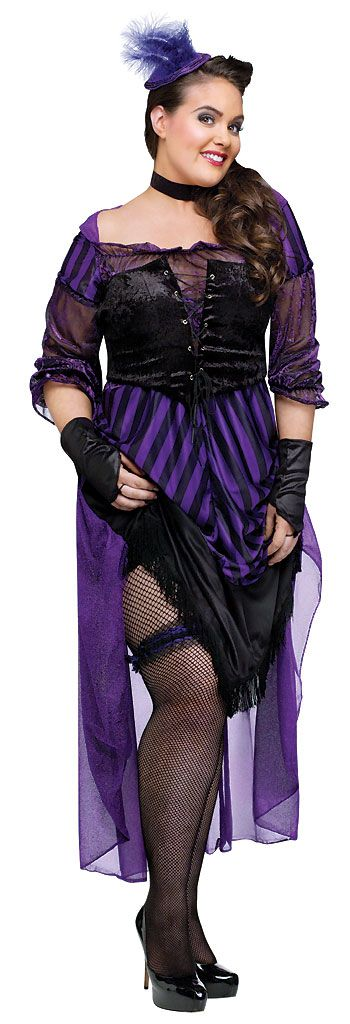Our women's Plus Size Lady Maverick Costume includes a black and purple dress featuring attached bustle, back bow and gathered striped skirt with black fringe, black lace-up waist cincher, leg garter, black choker, purple mini top hat with purple feathers and a pair of black sleevelets. This brothel showgirl is ready for the western showdown outside the saloon in our Plus Size Lady Maverick Costume for full figured women.