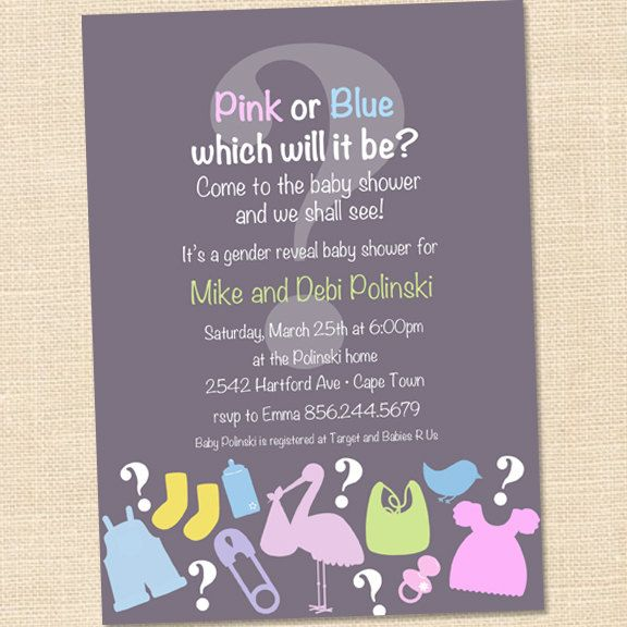 gender reveal baby shower invitation ideas pinterest