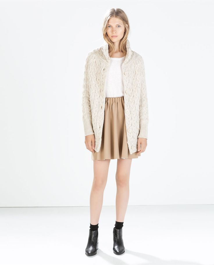 Image 1 of LONG ARAN CARDIGAN from Zara