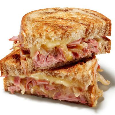 Corned Beef Grilled Cheese Sandwich With Guinness Caramelized Onions ...