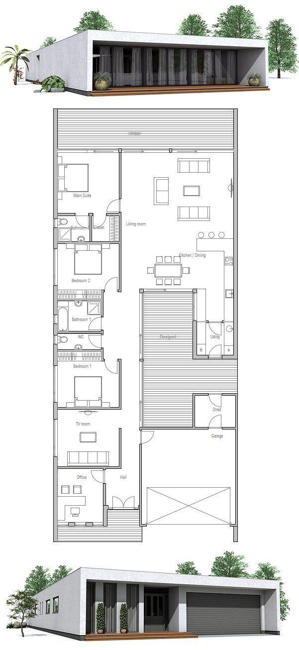Contemporary House Design To Narrow Lot Floor Plans