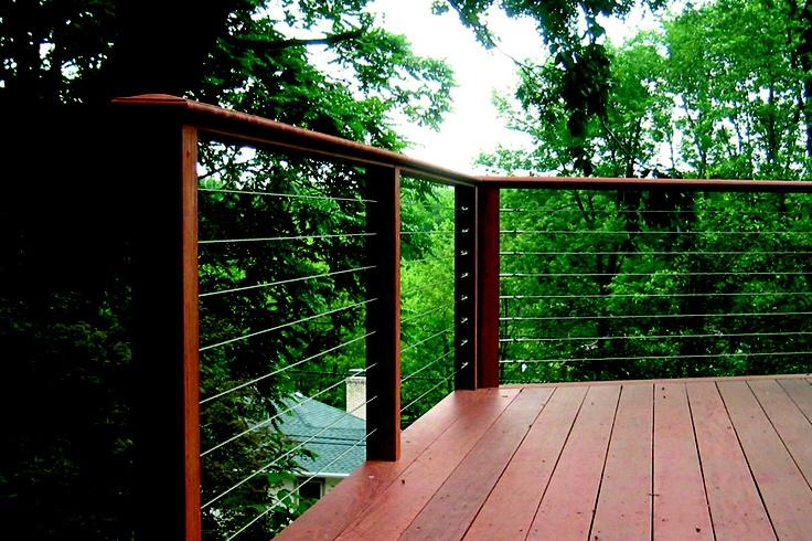 Outdoor cable rail with wooden framework best backyard for Garden decking framework