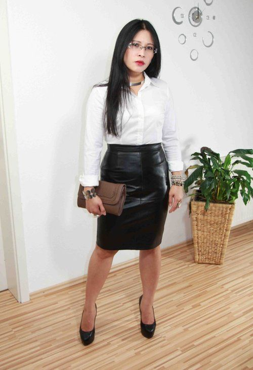 Black Leather Skirt White Blouse - Blouse Styles