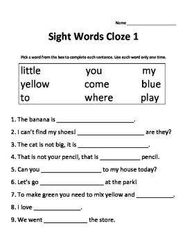 cloze sight dolch words Words Sight Cloze   Dolch Words  worksheets  Sight Worksheets Kindergarten