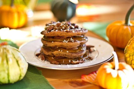 Pumpkin Butter Pancakes for one. Includes a recipe for pumpkin butter.