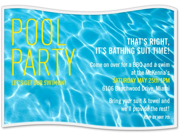 memorial day pool party invitations