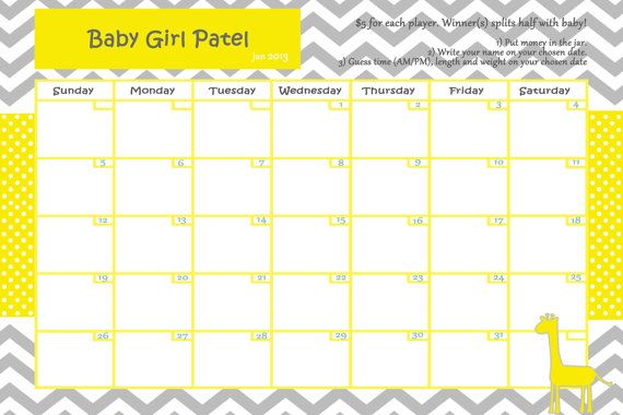 customize baby calendar for baby shower pool game giraffe theme digi