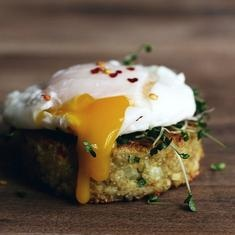 Little Quinoa Patties with poached egg. I'll add some beluga lentils ...