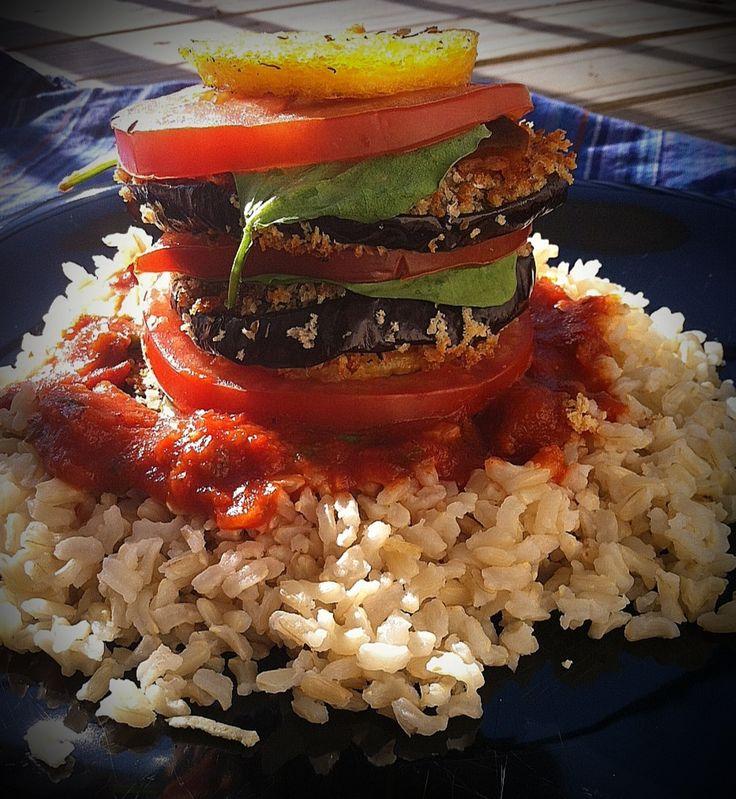 Breaded Eggplant and Polenta Stack | Vegan | Pinterest