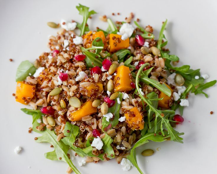 Farro and Red Quinoa Salad with Roasted Butternut Squash