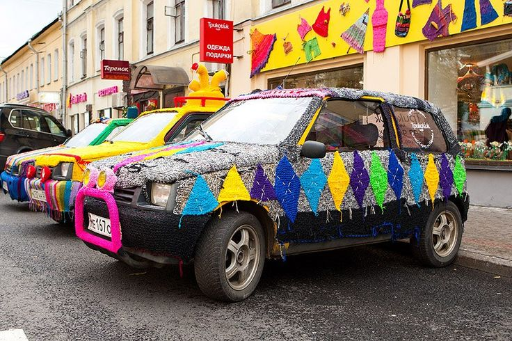 yarnbombing in russia, moscow. knit car