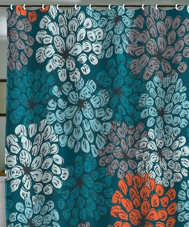 String Curtains For Doorways Coral and Aqua Shower Curtain