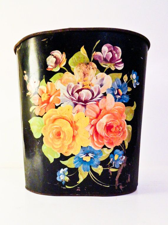 Vintage Shabby Chic Painted Floral Tin Trash Can