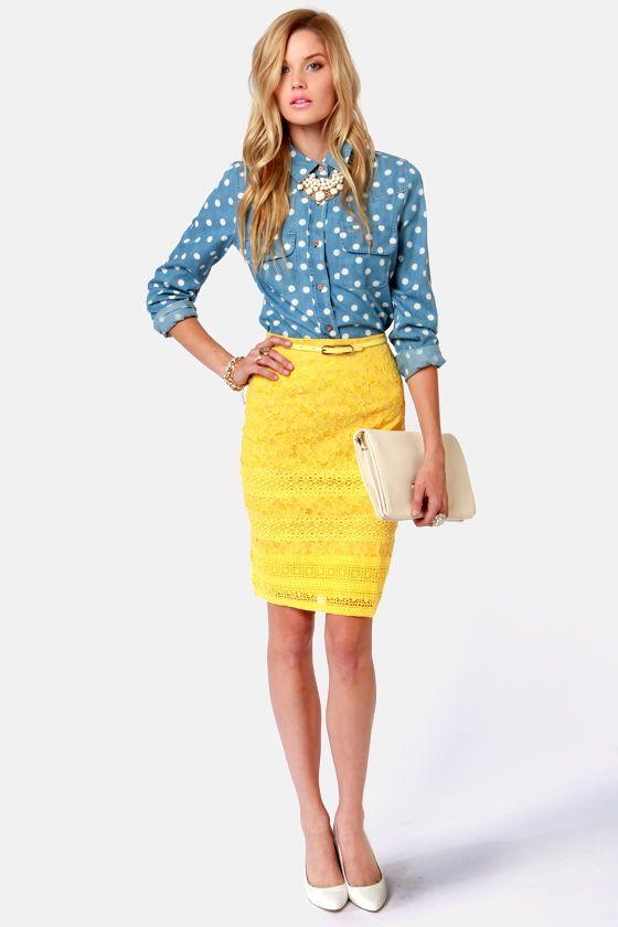 sittin pretty yellow lace pencil skirt