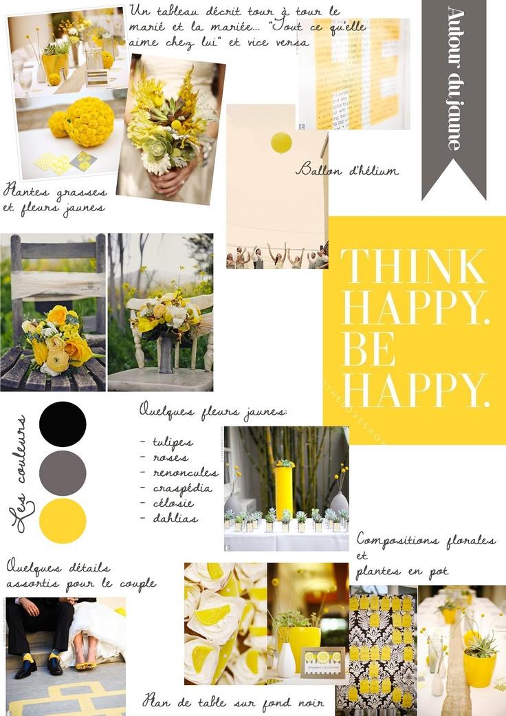 jaune et gris mon mariage en jaune pinterest. Black Bedroom Furniture Sets. Home Design Ideas