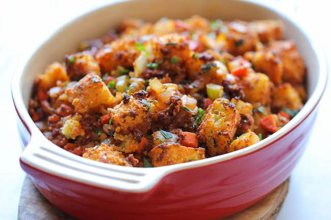 Chorizo Cornbread Stuffing - An easy, no-fuss, make-ahead crumbly ...