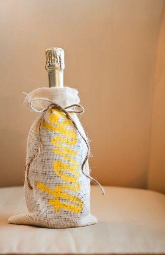 Happy New Year! Cute Champagne wedding favor idea.