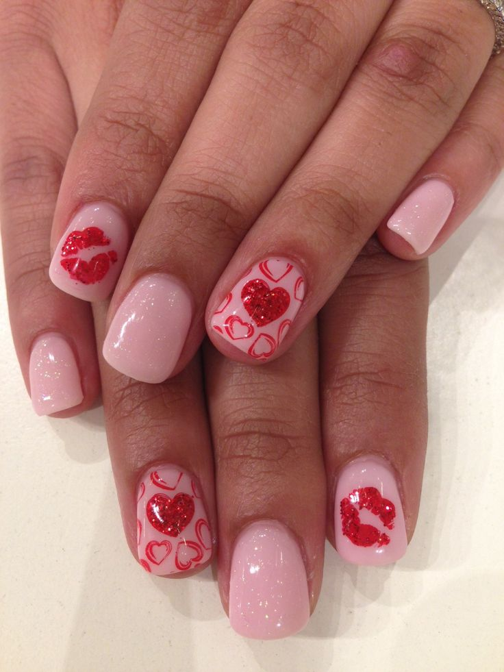 Valentines day inspired nails done with bio sculpture gel colour 68