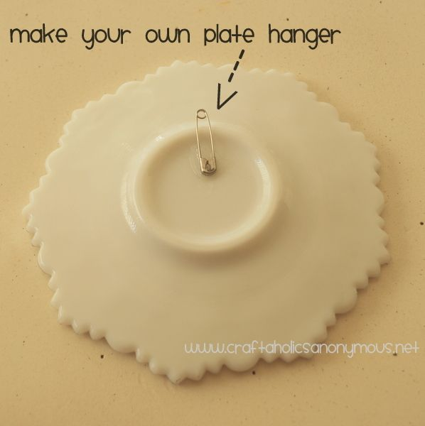 homemade plate hanger using superglue and a safety pin