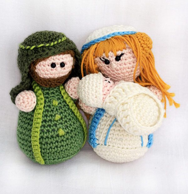 Crochet Amigurumi Nativity Pattern : Nativity set: Joseph, Mary and baby Jesus amigurumi ...