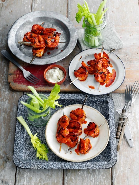 Hot buffalo prawns with blue cheese dip | Outdoor Kitchens | Pinterest