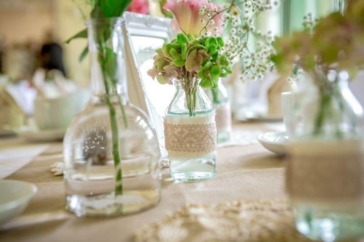 Vasen Vintage Shabby Spitze Tischdeko Hochzeitsdeko