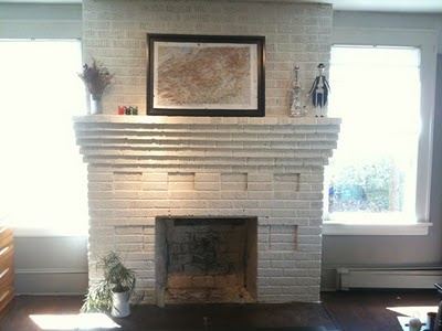 white painted brick fireplace amiladawn