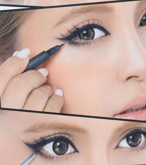 """winged liner & lashes done in a way to """"widen"""" the eye."""