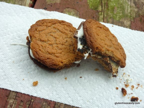 The only thing better than Flourless Peanut Butter Cookies/Almond Butter Cookies/Sun Butter Cookies is turning them into Cookie S'mores! You may never go back to graham cracker S'mores after these. ;-) #glutenfree #dairyfree