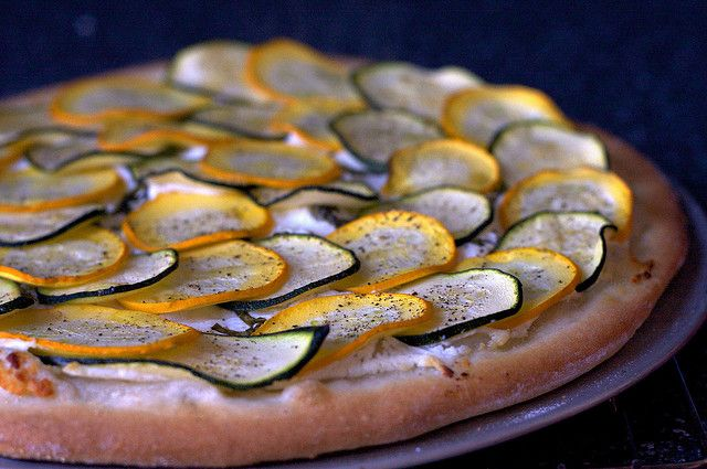 lemony zucchini goat cheese pizza by smitten, via Flickr