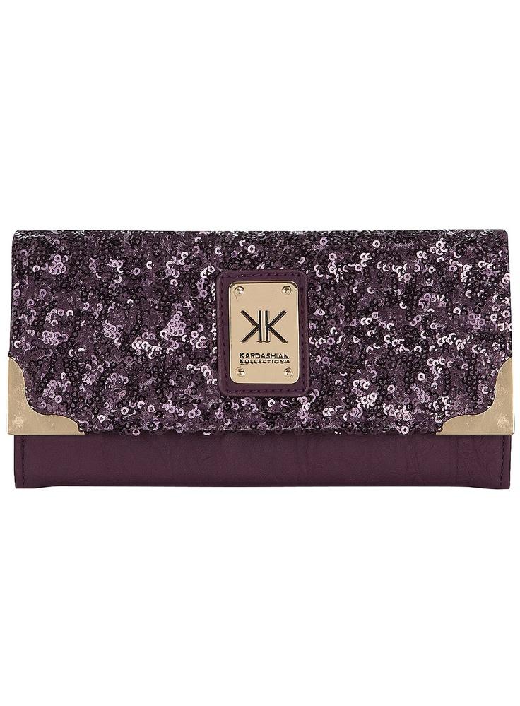 Kardashian purple sequin purse