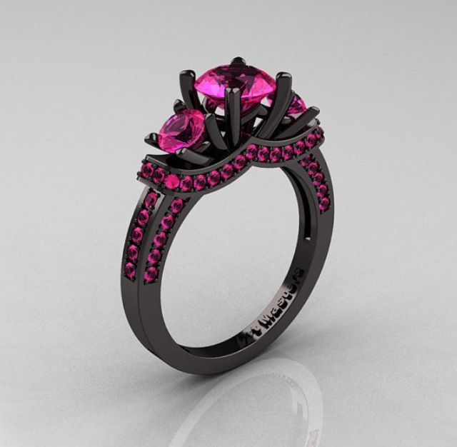 Pink sapphire black gold engagement ring