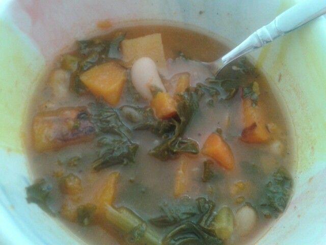 Roasted vegetable, bean and kale soup | Stuff I Make | Pinterest