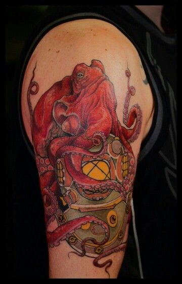 octopus on divers helmet octopus squid tattoos pinterest. Black Bedroom Furniture Sets. Home Design Ideas