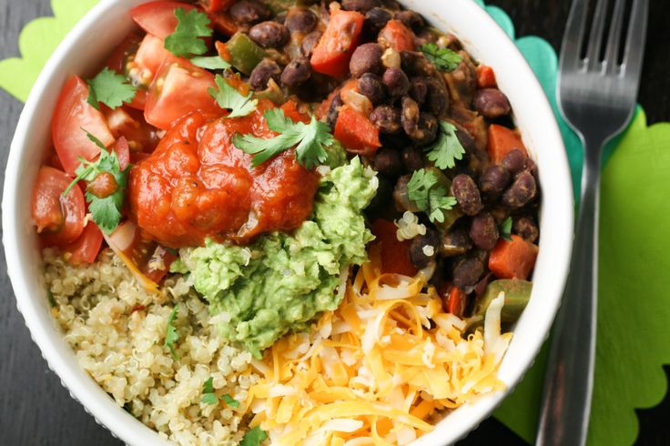 Cilantro Lime Quinoa Black Bean Burrito Bowls