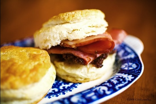 ham and biscuits with black mission fig jam