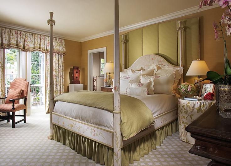 four poster Patina bed, antique furniture, Osborne & Little drapery